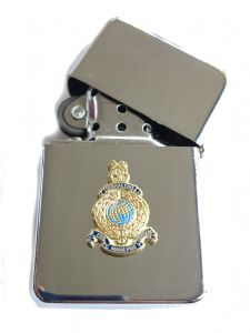 Royal Marines Chrome Plated Windproof Petrol Lighter in Gift Box